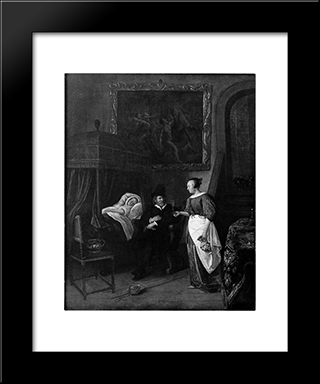 Doctor`S Visit: Modern Black Framed Art Print by Jan Steen