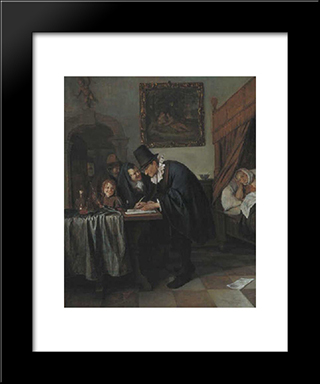 Doctor'S Visit: Modern Black Framed Art Print by Jan Steen