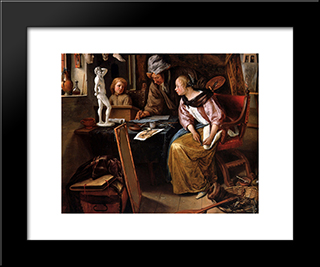 Drawing Lesson: Modern Black Framed Art Print by Jan Steen