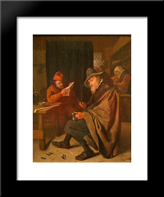 Drinker: Modern Black Framed Art Print by Jan Steen