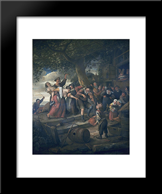 Drunk Woman: Modern Black Framed Art Print by Jan Steen