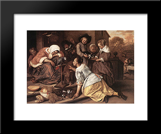 Effects Of Intemperance: Modern Black Framed Art Print by Jan Steen