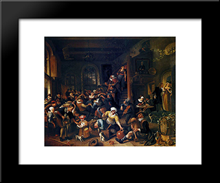 Egg Dance: Modern Black Framed Art Print by Jan Steen
