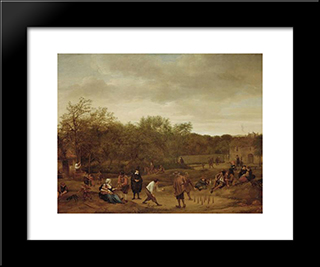 Farmers To Skittles: Modern Black Framed Art Print by Jan Steen