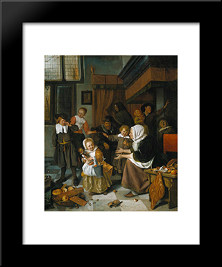 Feast Of St. Nicholas: Modern Black Framed Art Print by Jan Steen