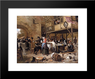 Feast Of The Chamber Of Rhetoricians Near A Town Gate: Modern Black Framed Art Print by Jan Steen