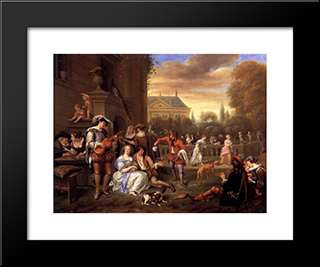 Garden Party: Modern Black Framed Art Print by Jan Steen