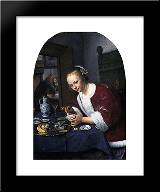 Girl Eating Oysters: Modern Black Framed Art Print by Jan Steen