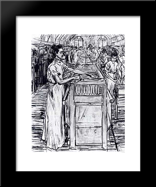 Female Employees In The Candle Factory In Gouda: Modern Black Framed Art Print by Jan Toorop