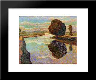 Landscape With Canal: Modern Black Framed Art Print by Jan Toorop