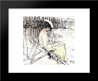 Portrait Of Emma Bellwidt On The Beach At Domburg: Modern Black Framed Art Print by Jan Toorop