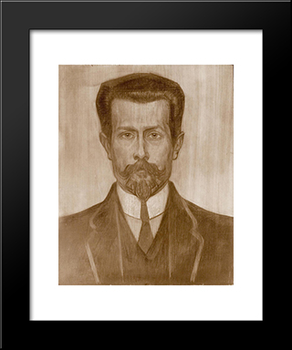 Portrait Of Theo Neuhuys: Modern Black Framed Art Print by Jan Toorop
