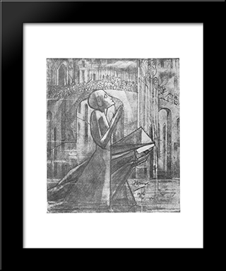 Prayer At The Road To Calvary: Modern Black Framed Art Print by Jan Toorop