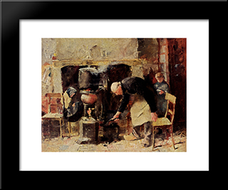 Preparing The Meal: Modern Black Framed Art Print by Jan Toorop
