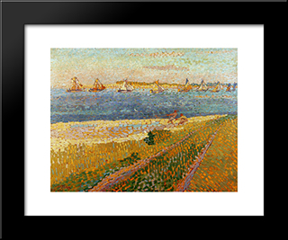 The Fishing Fleet Of Veere: Modern Black Framed Art Print by Jan Toorop
