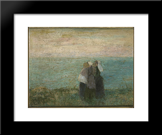 Women At The Sea: Modern Black Framed Art Print by Jan Toorop