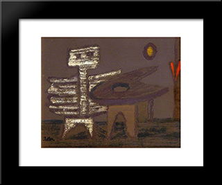 Composition: Modern Black Framed Art Print by Jankel Adler