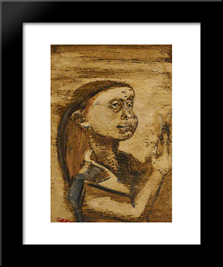 Portrait Of A Woman: Modern Black Framed Art Print by Jankel Adler