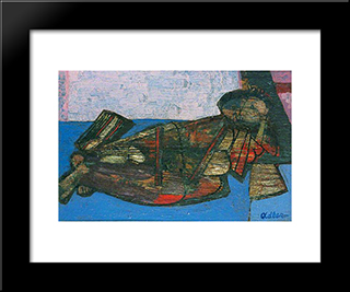 Reclining Nude: Modern Black Framed Art Print by Jankel Adler