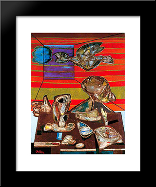 The Poet: Modern Black Framed Art Print by Jankel Adler