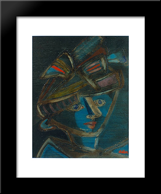 Woman With Hat: Modern Black Framed Art Print by Jankel Adler