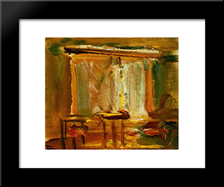 Interior With Curtained Window: Modern Black Framed Art Print by Janos Tornyai