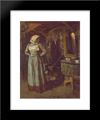 Young Woman In The Atelier: Modern Black Framed Art Print by Janos Tornyai
