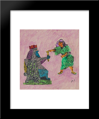 Esther And Ahaseurus: Modern Black Framed Art Print by Jean David