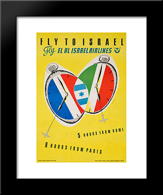 Fly To Israel: Modern Black Framed Art Print by Jean David