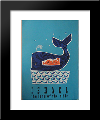 Jonah And The Whale (Israel Travel Poster): Modern Black Framed Art Print by Jean David