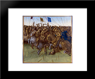 A Re-Imagination Of Louis Iii And Carloman'S 879 Victory Over The Vikings: Modern Black Framed Art Print by Jean Fouquet