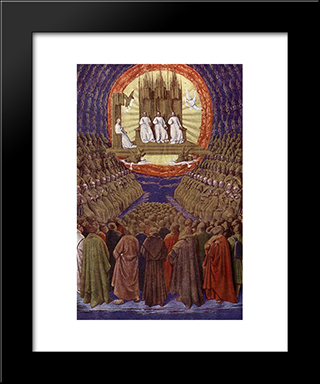 Enthronement Of The Virgin Or, The Trinity In Its Glory: Modern Black Framed Art Print by Jean Fouquet