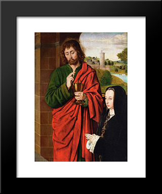 Anne Of France, Lady Of Beaujeu, Duchess Of Bourbon, Presented By St. John The Evangelist, Right Hand Wing Of A Triptych: Modern Black Framed Art Print by Jean Hey