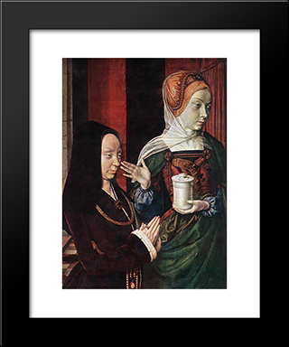 Madeleine Of Bourgogne Presented By St. Mary Magdalene: Modern Black Framed Art Print by Jean Hey