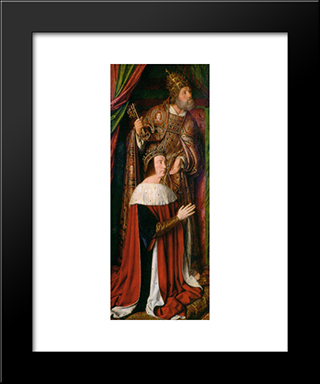 Peter Ii De Beaujeu Of Bourbon With St. Peter - Left Wing Of The Bourbon Altarpiece: Modern Black Framed Art Print by Jean Hey