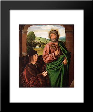 Peter Ii Duke Of Bourbon Presented By St. Peter, Left Hand Wing Of A Triptych: Modern Black Framed Art Print by Jean Hey
