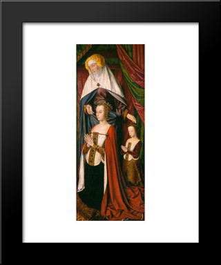 St. Anne Presenting Anne Of France And Her Daughter, Suzanne Of Bourbon - Right Wing Of The Bourbon Altarpiece: Modern Black Framed Art Print by Jean Hey