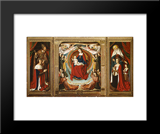 The Bourbon Altarpiece (The Moulins Triptych): Modern Black Framed Art Print by Jean Hey