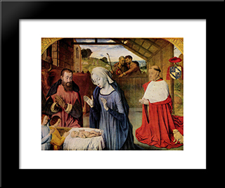The Nativity: Modern Black Framed Art Print by Jean Hey