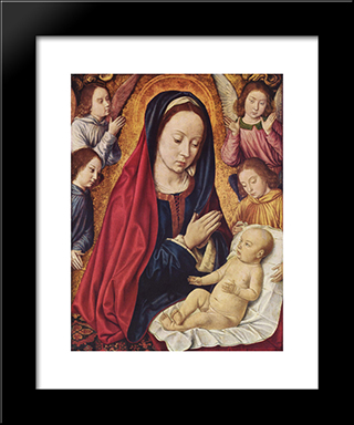The Virgin And Child Adored By Angels: Modern Black Framed Art Print by Jean Hey
