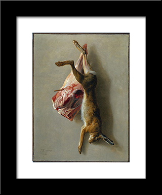 A Hare And A Leg Of Lamb: Modern Black Framed Art Print by Jean Baptiste Oudry