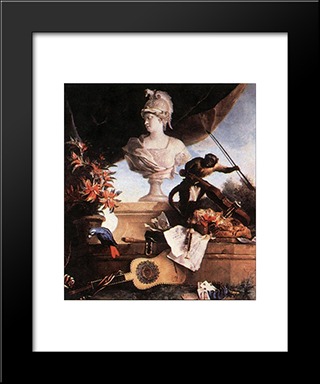 Allegory Of Europe: Modern Black Framed Art Print by Jean Baptiste Oudry
