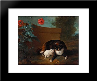 Chatte Et Chaton, Et Chien Et Perroquet: Custom Black Wood Framed Art Print by Jean Baptiste Oudry