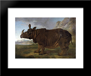 Clara The Rhinoceros: Modern Black Framed Art Print by Jean Baptiste Oudry