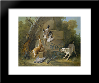 Dog Guarding Dead Game: Modern Black Framed Art Print by Jean Baptiste Oudry
