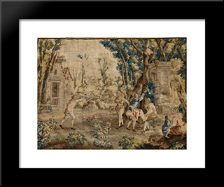 Les Amusements Champetres Le Cheval Fondu (Tapestry): Modern Black Framed Art Print by Jean Baptiste Oudry