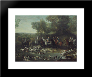 Louis Xv Hunting Deer In The Saint-Germain Forest: Modern Black Framed Art Print by Jean Baptiste Oudry