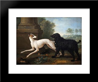 Missy And Luttine: Modern Black Framed Art Print by Jean Baptiste Oudry