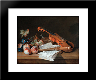 Still Life With A Violin, A Recorder, Books, A Portfolio Of Sheet Of Music, Peaches And Grapes On A Table Top: Modern Black Framed Art Print by Jean Baptiste Oudry