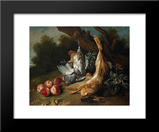 Still Life With Dead Game And Peaches In A Landscape: Modern Black Framed Art Print by Jean Baptiste Oudry